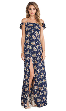 FLYNN SKYE Bardot Maxi Dress in Navy Bouquet