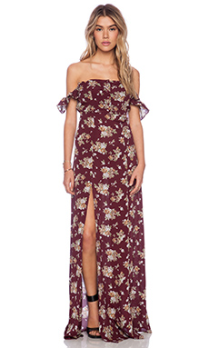 FLYNN SKYE Bardot Maxi Dress in Burgundy Bouquet