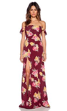 FLYNN SKYE Bardot Maxi Dress in Rosey Posey