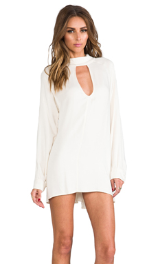 For Love & Lemons Charming Loose Fit Cut-Out Dress in Ivory