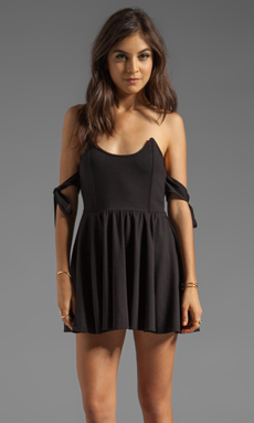 For Love & Lemons Fallen Off The Shoulder Dress in Black