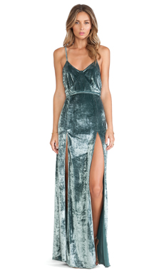 For Love & Lemons Vixen Maxi Dress in Sage Velvet