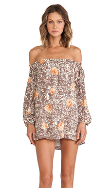 For Love & Lemons Wilson Mini Dress in Rose Acid Wash