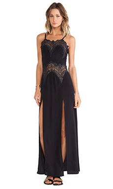 For Love & Lemons Bourbon Lace Maxi in Black