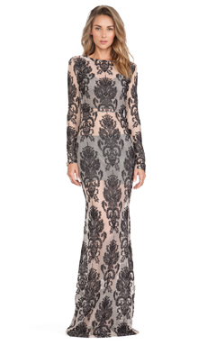 For Love & Lemons Ethereal Maxi Dress in Black & Nude