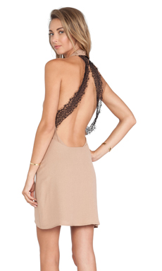 For Love & Lemons Topanga Halter Dress in Camel