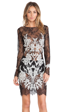 For Love & Lemons Lacey Dreams Mini Dress in Black