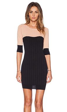 KNITZ by For Love & Lemons Colorblock Mini Dress in Blush & Black