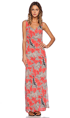 For Love & Lemons Mai Tai Maxi Dress in Red Orchid Print