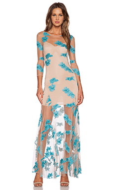 For Love & Lemons Orchid Maxi Dress in Aqua