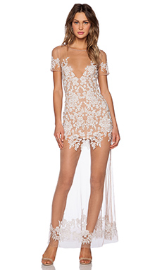 For Love & Lemons Luau Maxi Dress in White & Nude