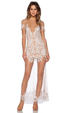 For Love & Lemons Luau Maxi Dress in White & Nude
