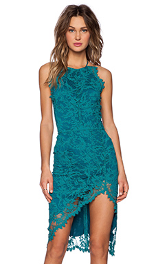 For Love & Lemons Maui Waui Slit Dress in Teal