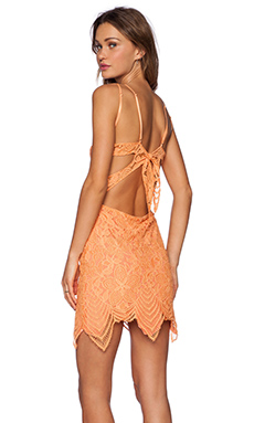 For Love & Lemons Guava Mini Dress in Tropical Orange