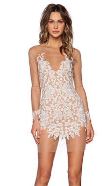 For Love & Lemons Luau Mini Dress in White & Nude