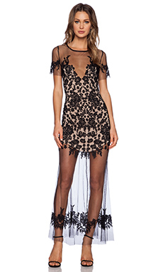 For Love & Lemons Luau Maxi Dress in Black & Nude