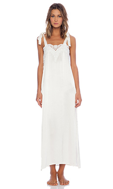 SKIVVIES by For Love & Lemons Nighty Night Satin Gown in Ivory