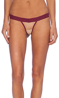 For Love & Lemons Le Fleur Thong in Blood Red & Nude