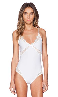 SKIVVIES by For Love & Lemons Iris Bodysuit in White