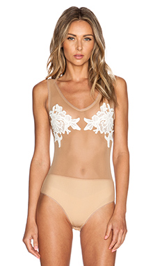 SKIVVIES by For Love & Lemons Dahlia Bodysuit in Nude & White