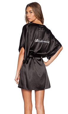 SKIVVIES by For Love & Lemons Bridesmaid Robe in Black