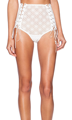 SKIVVIES by For Love & Lemons Wanted & Wild Lace Up Panty in White