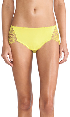 SKIVVIES by For Love & Lemons Bat Your Lashes Cheeky Pant in Chartreuse