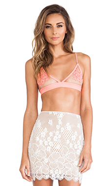 SKIVVIES by For Love & Lemons Fleur Bra in Spicy Coral