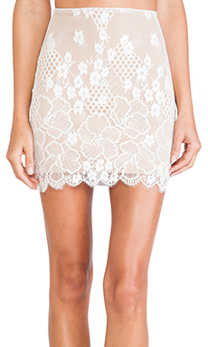 SKIVVIES by For Love & Lemons Flower Bomb Slip Skirt in White