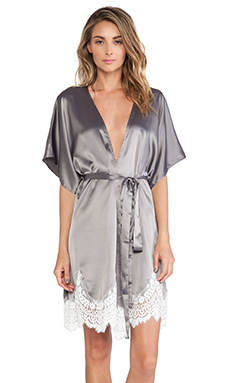 For Love & Lemons Bombshell Robe in Grey & White Lace
