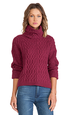 KNITZ by For Love & Lemons Snow Day Turtle Neck in Merlot