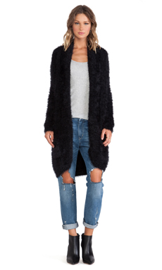 KNITZ by For Love & Lemons Blizzard Cardigan in Black