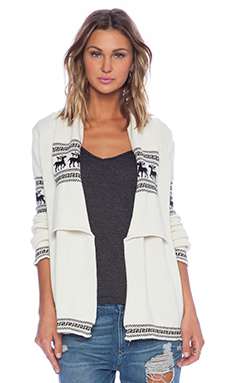 KNITZ by For Love & Lemons Alpine Cardigan in Ivory