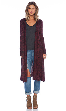 KNITZ by For Love & Lemons Zoey Cardigan in Heathered Wine