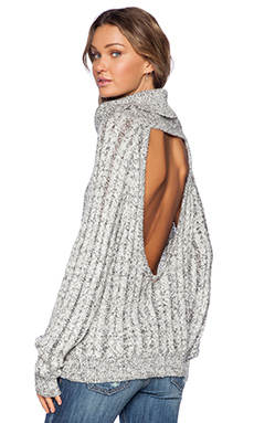 KNITZ by For Love & Lemons Solstice Backless Sweater in Heathered Gray