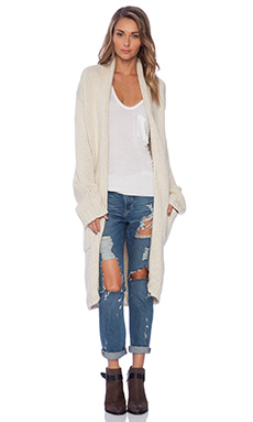KNITZ by For Love & Lemons Holidaze Cardigan in Creme Brulee