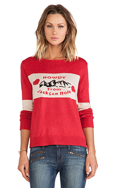 KNITZ by For Love & Lemons Howdy From Jackson Hole Pullover in Red