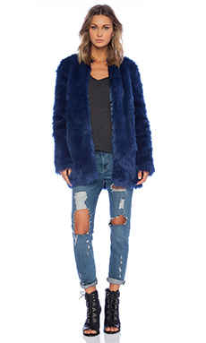 For Love & Lemons Wanderlust Faux Fur Jacket in Blue Ashes