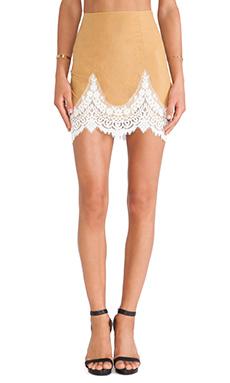 For Love & Lemons Giddy Up Suede Skirt in Camel Suede