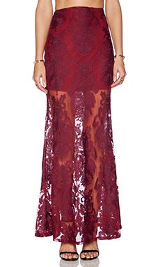 For Love & Lemons Ethereal Maxi Skirt in Crimson