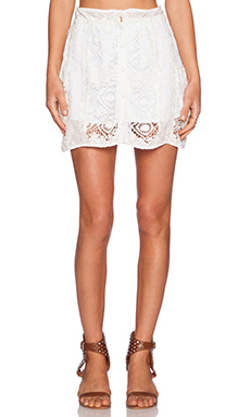 For Love & Lemons Mariposa Mini Skirt in White