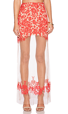For Love & Lemons Luau Maxi Skirt in Red & Nude