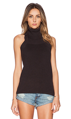 KNITZ by For Love & Lemons Keep It Cozy Halter Top in Black