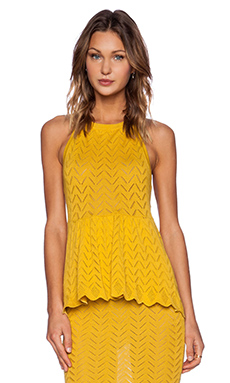 KNITZ by For Love & Lemons Lemon Drop Halter Top in Lemon