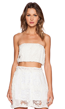 For Love & Lemons Mariposa Bandeau Top in White