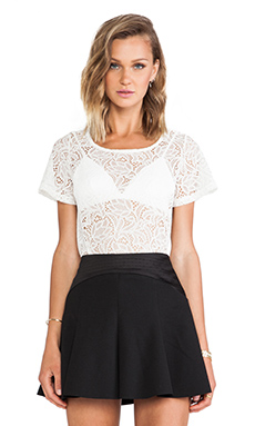 For Love & Lemons Baby Cakes Lace Top in Off White