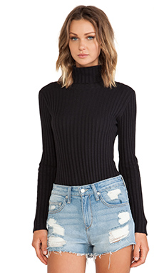 KNITZ by For Love & Lemons Snuggler Body Suit in Black