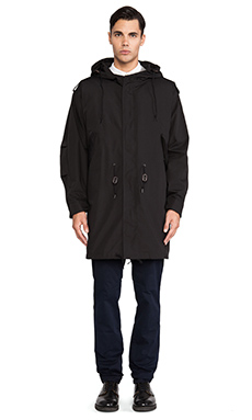 Fred Perry Laurel Wreath Quilted Lined Parka in Black