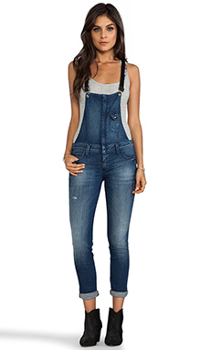 Frankie B. Jeans Hipster Overall with Leather Strap in Japan Blue