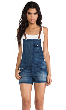 Frankie B. Jeans Hipster Short Overalls in Spring Blue